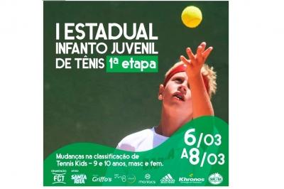 Últimos dias de inscrições para a primeira etapa do I Estadual Infanto Juvenil de Tênis.