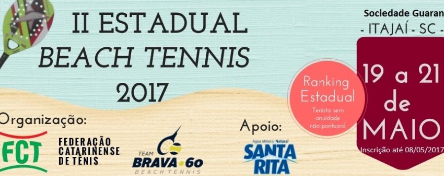 ABERTAS AS INSCRIÇÕES II ESTADUAL DE BEACH TENNIS 2017